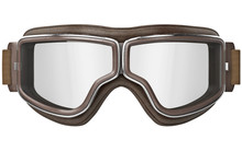 Black Aviation Goggles In Vintage Style With Chrome Inserts, Front View. 3D Graphic