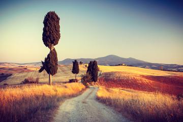 Panel Szklany Toskania Beautiful sunset near Pienza, Tuscany, Italy
