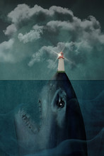 Shark Underwater With Lighthou...