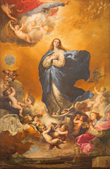 FototapetaThe Immaculate conception of Virgin Mary painting on the altar of Convento de las Agustinas and Iglesia de la Purisima church by Jose de Ribera 1635.