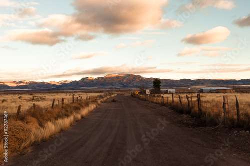 Diminishing perspective of dirt track on farmland