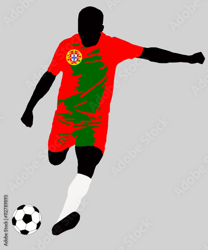 56128e7f1 UEFA Euro 2016 vector illustration of football player run hit ball. Group F  participant. Soccer team player in uniform with Portugal state national  flag ...