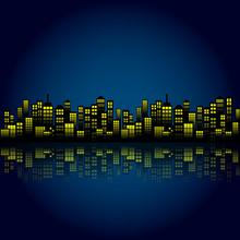 Style Cartoon Night City Skyli...