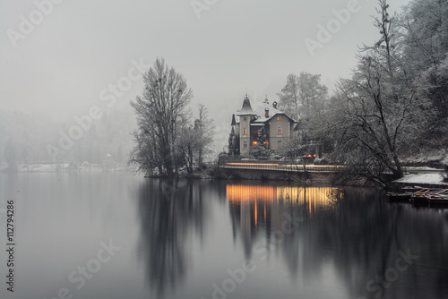 Bled lake in the morning, Slovenia плакат