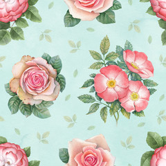 Panel Szklany Watercolor rose flowers illustration. Seamless pattern