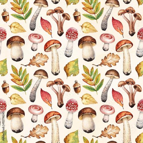 akwarela-ilustracje-grzybow-i-lisci