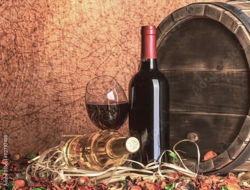 Fototapeta Still life with red wine and heart obraz na płótnie