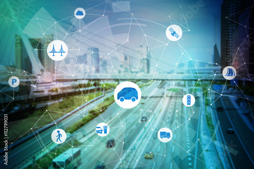 Cuadros en Lienzo modern transportation and communication network, intelligent vehicle, smart tran