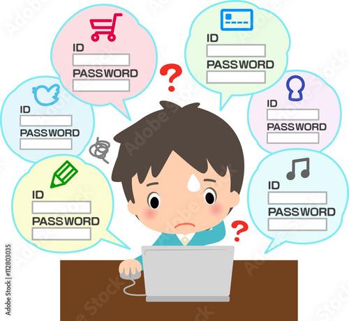 Fotografía  たくさんのパスワードの管理に困っている男性