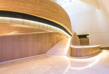 Luxury Hall With Staircase And Wood Wall