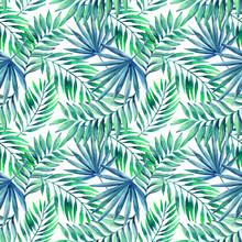 Watercolor Tropical Leaves Sea...