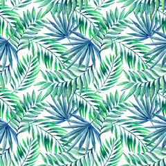Fototapeta Watercolor tropical leaves seamless pattern