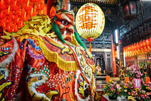 God Statue In Traditional Old Oriental Chinese Temple In Taiwan (Chinese Translation On Lantern : Name Of The Chinese God Of Sea, Mazu(matsu))