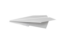 Origami Paper Airplane. Isolated On White Background.