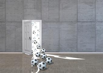 Fototapeta Spielbeginn - Raum mit geöffneten Tür und reinfliegenden Fussbällen