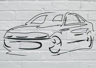 FototapetaArt urbain, silhouette d'un voiture
