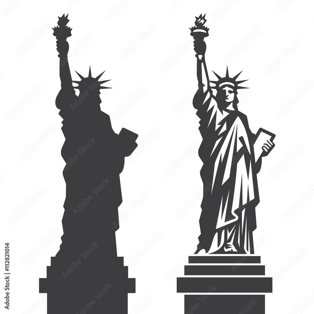 Fototapety, obrazy: New York Statue of Liberty Vector silhouette