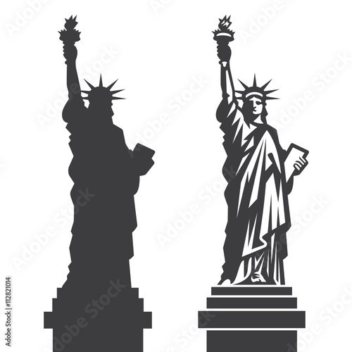 New York Statue of Liberty Vector silhouette Wallpaper Mural