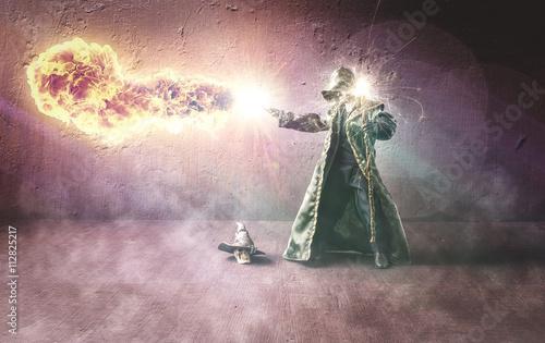 Obraz na płótnie Wizard throwing a fireball