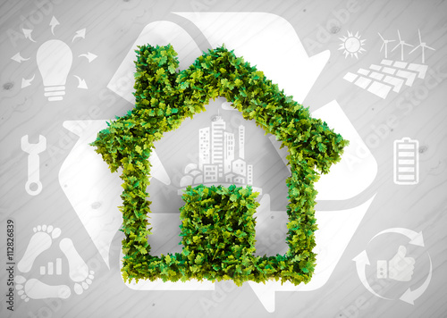 Obraz Sustainable living - 3d illustration with ecology icons on grey wooden background. - fototapety do salonu