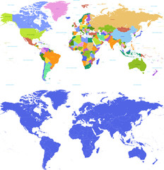 Fototapeta na wymiar Colorful Political map of the world
