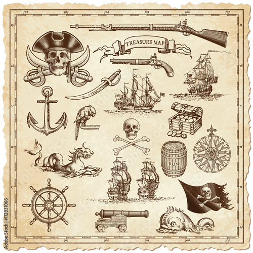 Fotografija  Treasure map vector illustrations
