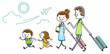 イラスト素材:家族 旅行