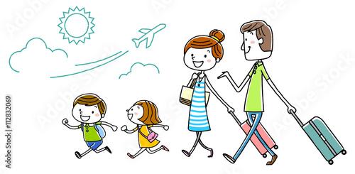 Fotografie, Obraz  イラスト素材:家族 旅行