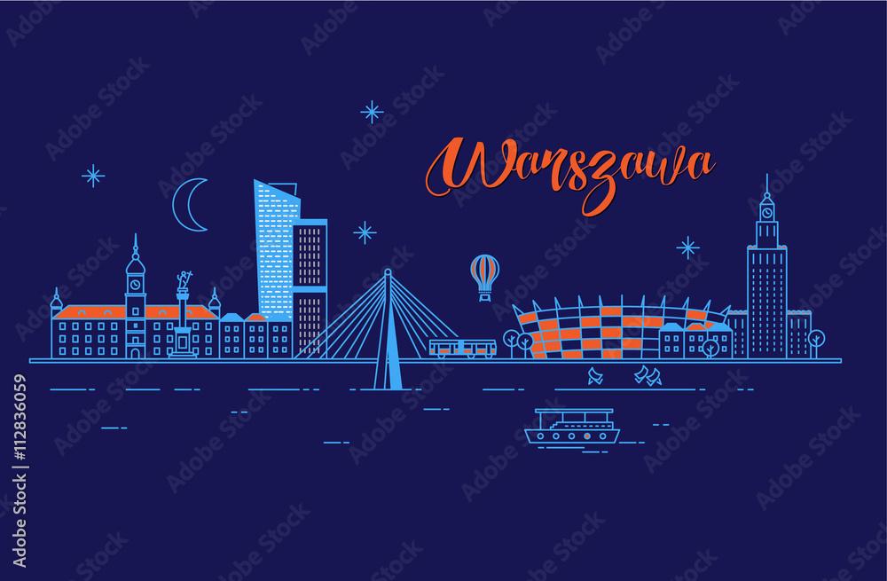 Fototapety, obrazy: Panorama miasta Warszawa w nocy