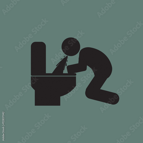 Fotografie, Obraz  Vomiting Person Graphic Symbol Vector Illustration.
