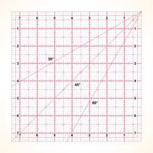 Square Transparent Ruler For Quilting With Inches Scale, Vector Illustration