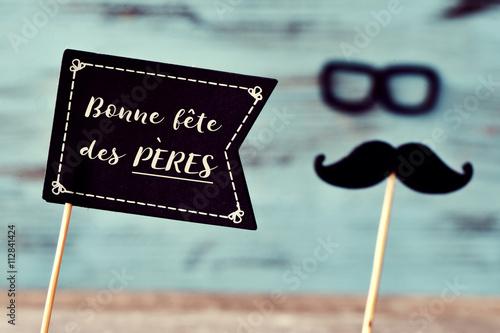 Fototapeta Textové bonne slavnost des Peres, šťastný Den otců ve francouzské