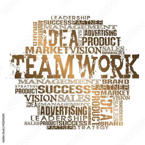 Fotografia, Obraz  Teamwork Word Cloud Concept.  Gold Style White Background