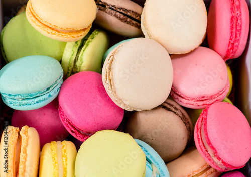 Poster Macarons macro multicolored french macaroon