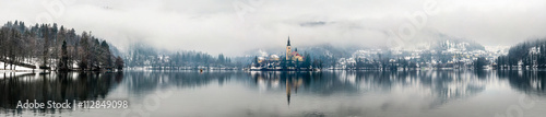 Fotografie, Tablou  Panoramic view of Bled lake in the morning, Slovenia