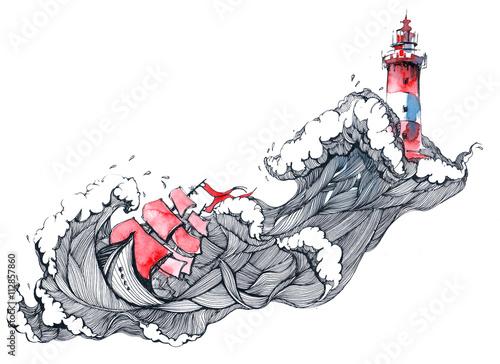 Foto auf Leinwand Gemälde storm