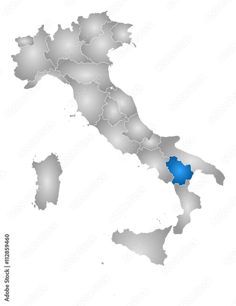 Photo Art Print Map Italy Basilicata Europosters