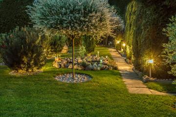 Garden illuminated by lamps