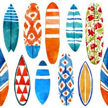 Hand Drawn Watercolor Surfboar...