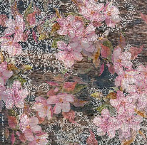 Foto-Plissee - Floral pattern - pink flowers, eastern ethnic design, wood texture (von zzorik)