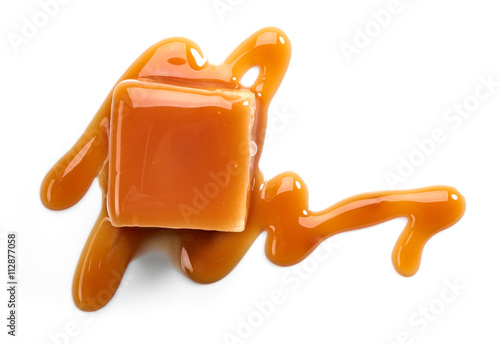 Poster Confiserie caramel candies and sauce