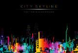 Fototapeta Młodzieżowe - runge style vector art, colorful city night skyline illustration.