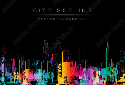 wektor styl runge, kolorowe miasto noc ilustracja panoramę.