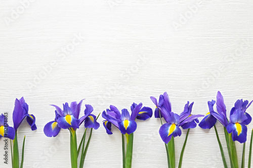 Poster Iris Bouquet of fresh spring flowers on wooden background