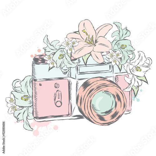 aparat-fotograficzny-z-kwiatami