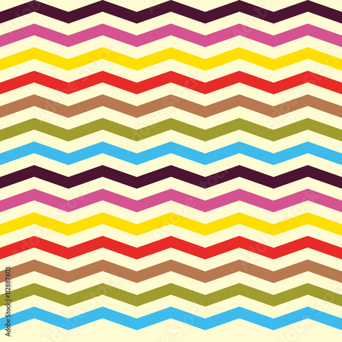 Fotobehang ZigZag Fashion zigzag pattern in retro colors, seamless vector background