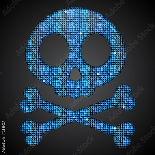 Photo  Vector blue skull. Pirate flag. Sequins.