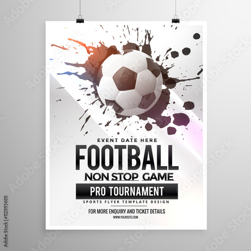 Football Soccer Game Tournament Flyer Brochure Template Buy This