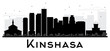 Kinshasa City skyline black and white silhouette.