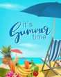 It's summer time vector illustration. Sea, blue sky, beach, cocktails, pineapple, fruits. Summer tropical background with lettering.